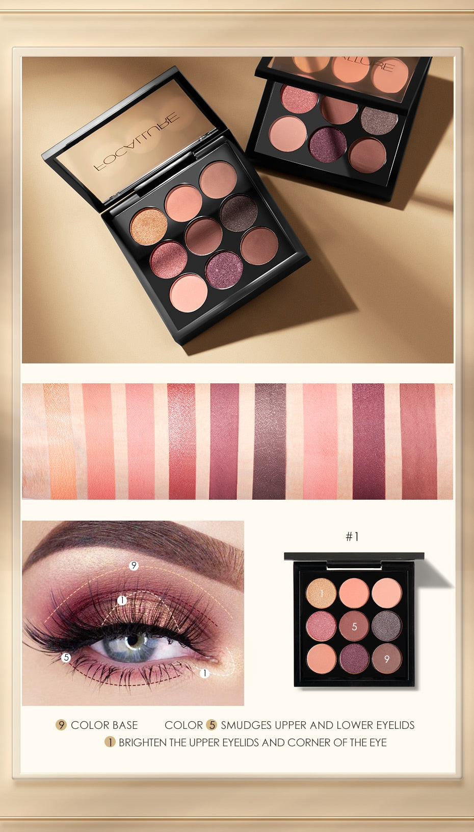 FOCALLURE Eyeshadow Palette Makeup Matte & Shimmer. 5  Palette/9colores