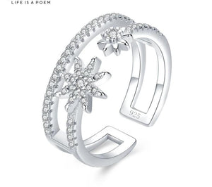 Anillo Star Burst Ajustable, de Plata 925 Sterling.