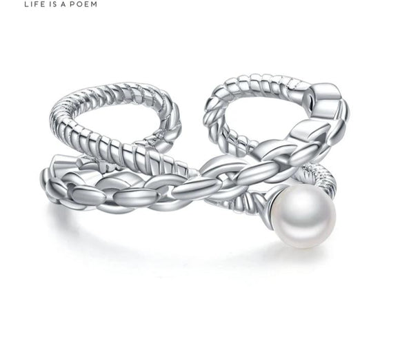Anillo Chain Pearl Ajustable de Plata 925 Sterling.