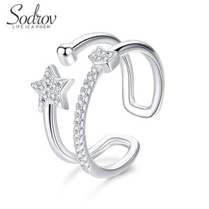 Anillo Ajustable de Plata 925 Sterling y Zirconias AAA, Lonely Star.