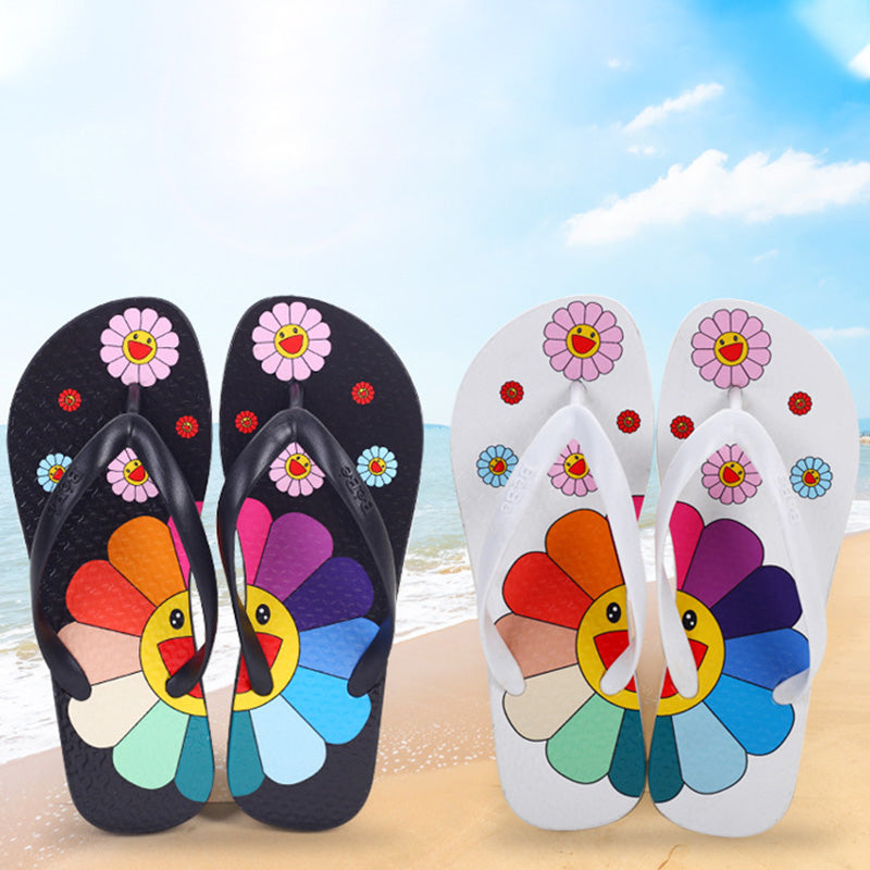 Sandalias Hippie Cute Flower. Negro y Blanco