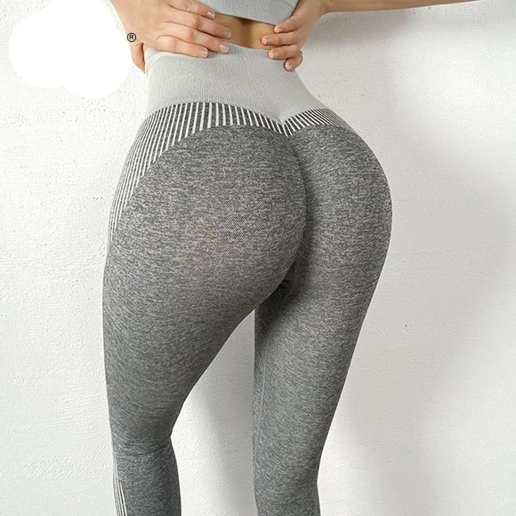 Leggings Push Up Fitness Stripes. Negro y Gris