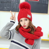 Gorro + Bufanda Thicker Knitted Solid. 7 colores