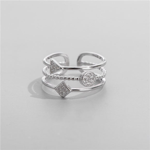 Anillo Ajustable de Plata 925 Sterling y Zirconias AAA, Three-Layer Triangle.