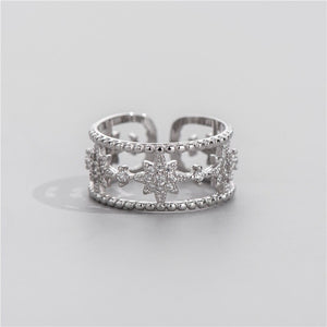 Anillo Ajustable de Plata 925 Sterling y Zirconias AAA, Niche Star Design.