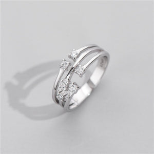 Anillo Ajustable de Plata 925 Sterling y Zirconias AAA, Three-layer Diamond.
