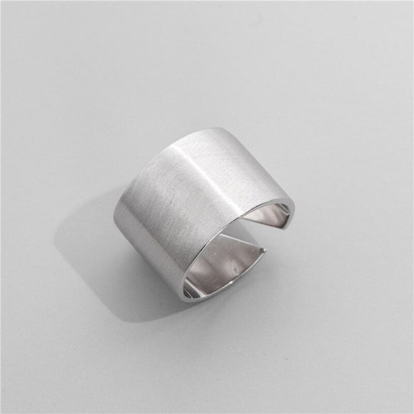 Anillo Ajustable de Plata 925 Sterling, Brushed Wide.