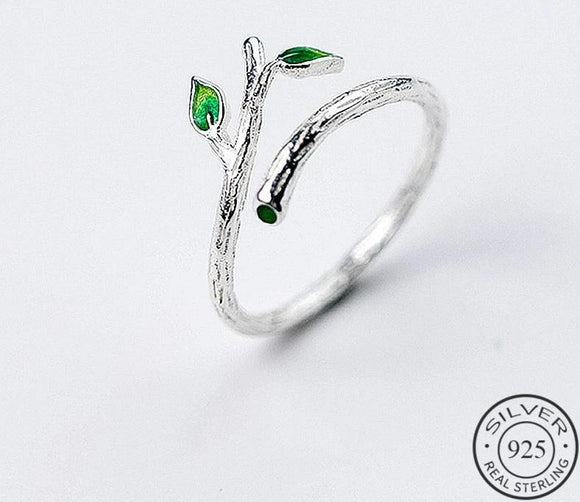 Anillo Crystal Leaf Ajustable, de Plata 925 Sterling.