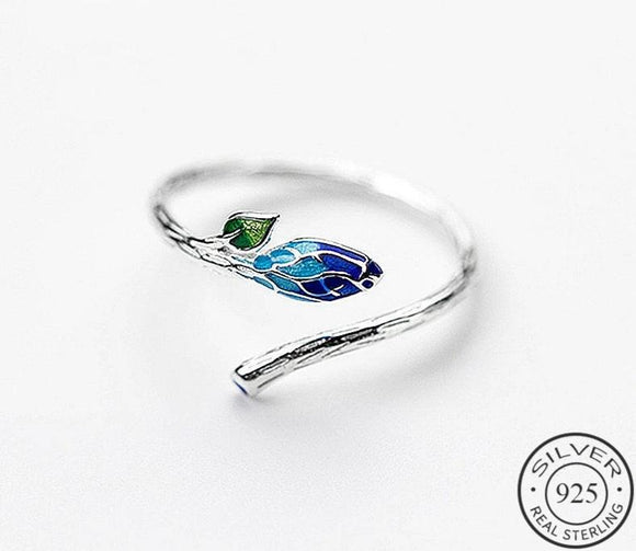 Anillo Ajustable Vintage Color Leaf Flower de Plata 925 Sterling.