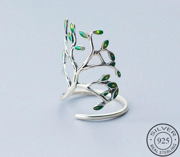 Anillo Ajustable Green Tree de Plata 925 Sterling.