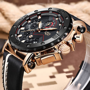 Reloj de Piel Luxury Big Military. 2 tonos