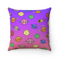 Neon Planets Square Pillow