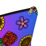 Fluorescent Flowers Zipper Pouch