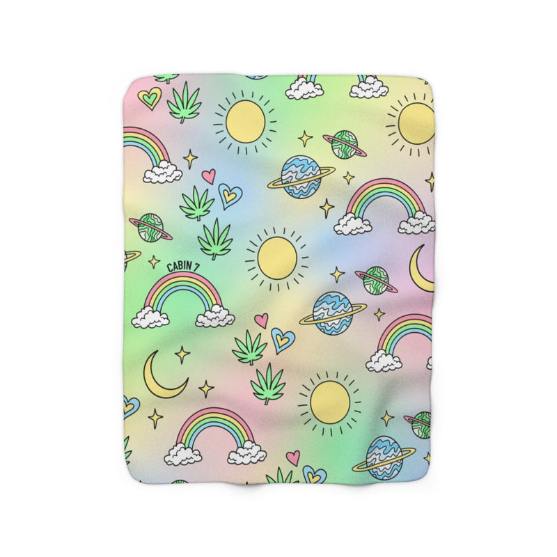Pastel Rainbow Sherpa Fleece Blanket