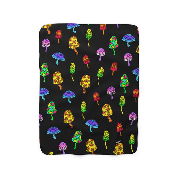 """Shrooms"" Sherpa Fleece Blanket"