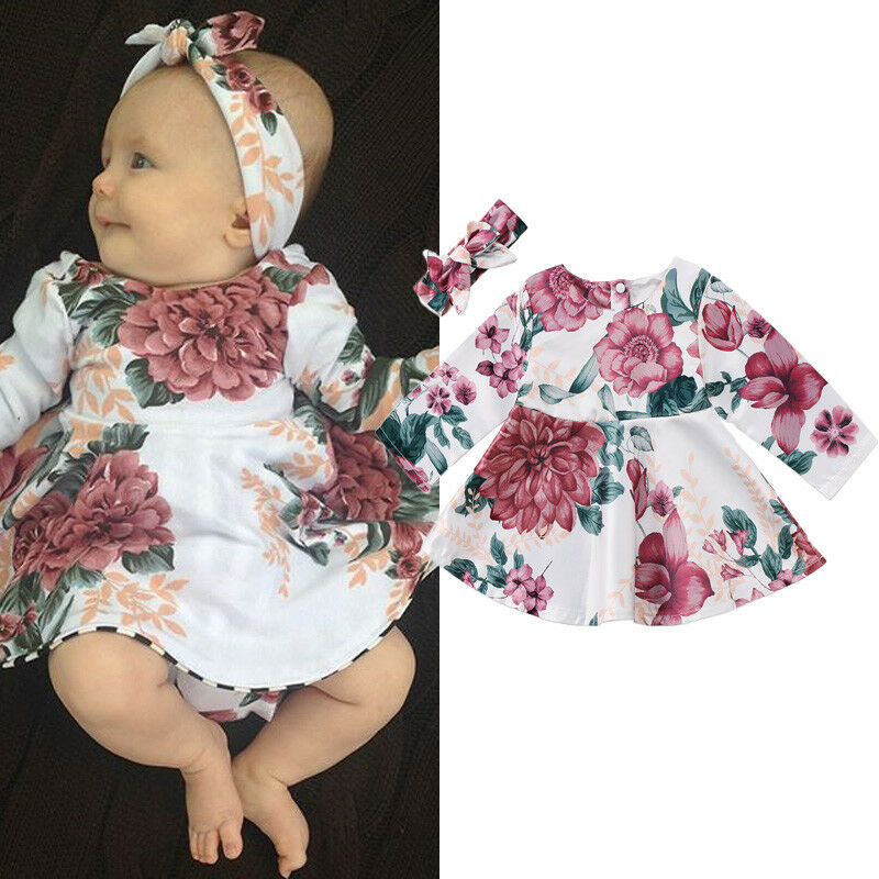 a90a99f37b426 Newborn Infant Kids Baby Girls Floral Long Sleeve Dress +Headband 2pcs  Outfits Set Clothes For 0-24 Month