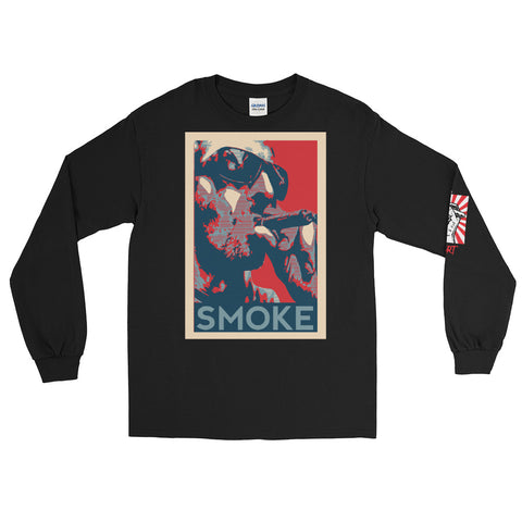 NEAL WOLLENBERG COLLABORATION BEER ART RETRO SMOKE Men's Long Sleeve Shirt