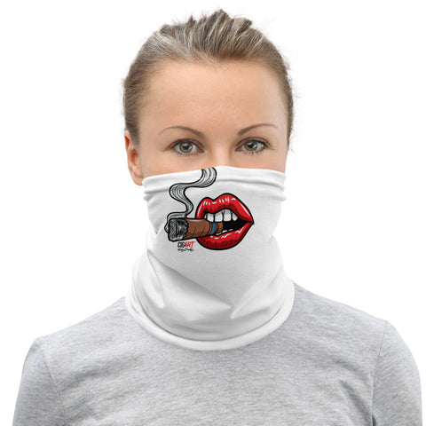 Cigar Art (CIGART) - White Smoking Lips Face Covering Neck Gaiter