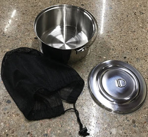 Stainless Steel Pot 3 QT Camp Pot with Lid and Mesh Carry Bag