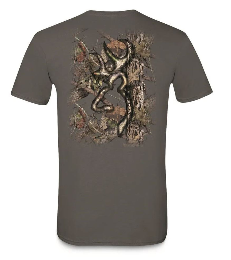 Browning Men's Background Camo Buckmark T-Shirt - Charcoal