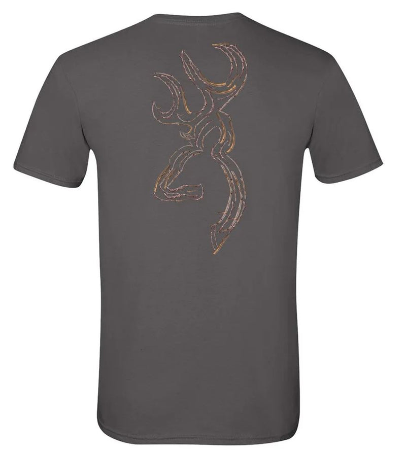 Browning Men's Twig Buckmark T-Shirt - Charcoal