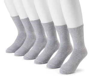 Under Armour Men's Charged Cotton 2.0 Crew Sock - 6-Pack - Charcoal Light Heather - Large
