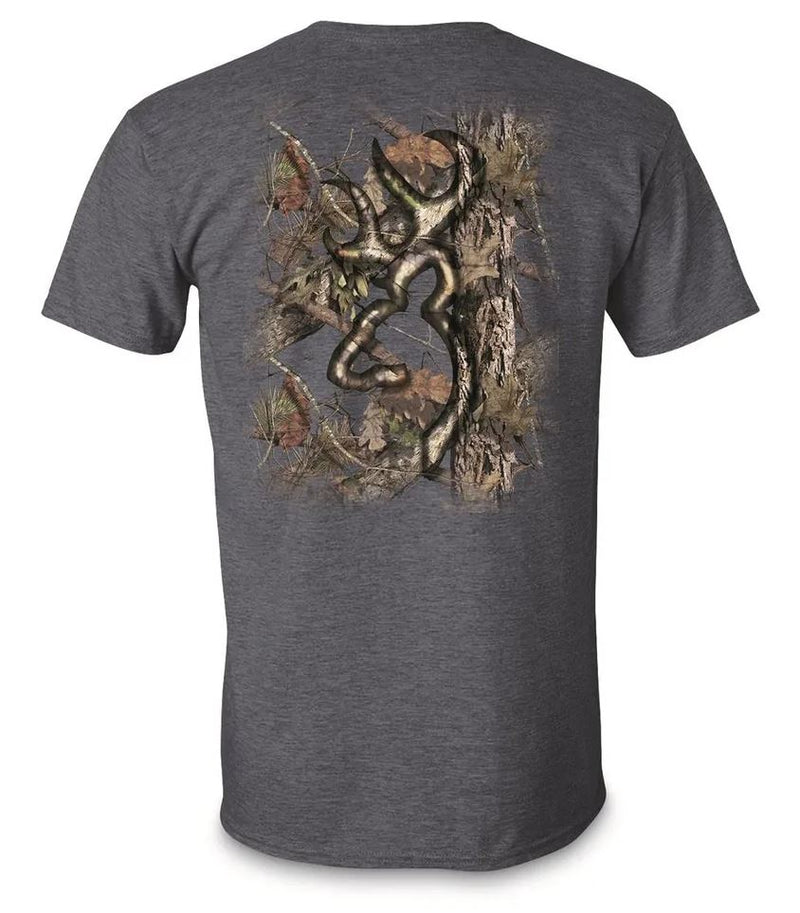 Browning Men's Background Camo Buckmark T-Shirt - Navy
