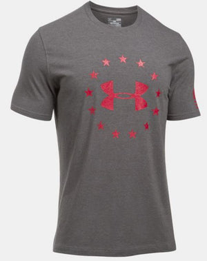 Under Armour Men's Freedom Logo T-Shirt - Charcoal/Red
