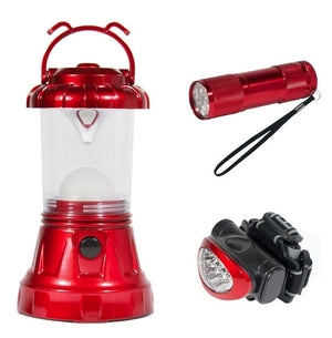 Sona Enterprises 3 Piece Camping LED Lighting Set - Includes Lantern, Headlamp, and Handheld - Red