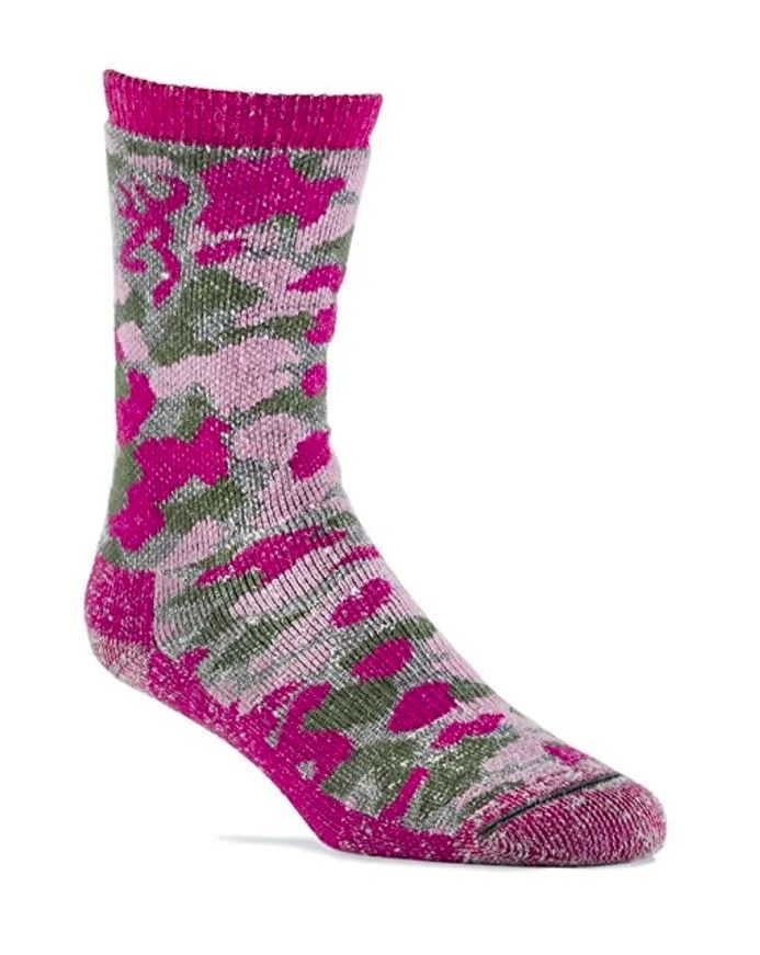 Browning Girl's Wool Blend Camo Crew Socks - Camo Pink