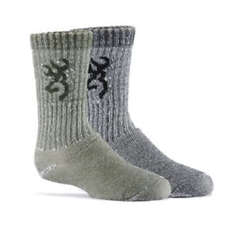 Browning Boy's 2 Pair Pack Wool Blend Crew Socks - Olive/Black Multi