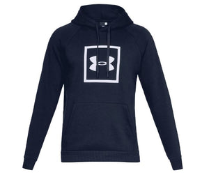 Under Armour 1329745-408 Rival Fleece Box Logo Hoodie - Navy