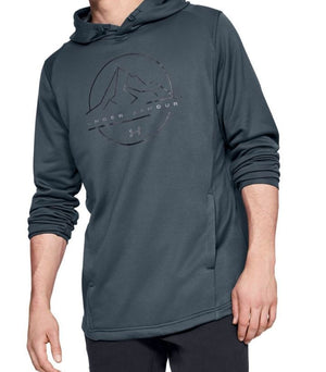 Under Armour 1328171-073 Tech Terry Mountain Graphic Hoodie-Men's-Navy