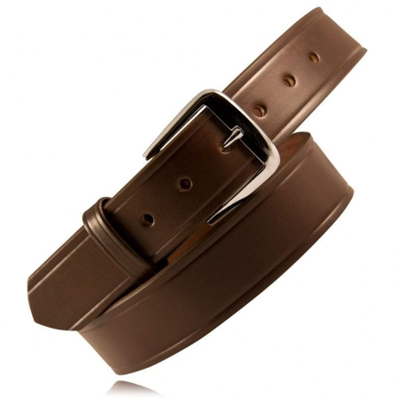 "Boston Leather Brown Belt, 1.5"" Wide, 10-12oz, 100% Full Grain Leather, 7 hole sizing options with silver buckle"