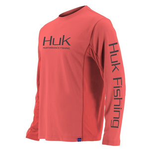 Huk Fishing Men's Icon Long Sleeve Shirt Coral