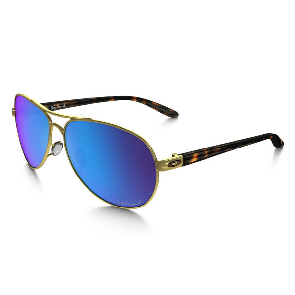 Oakley Feedback Sunglasses Women's Polished Gold/Sapphire Iridium Polarized OO4079-17