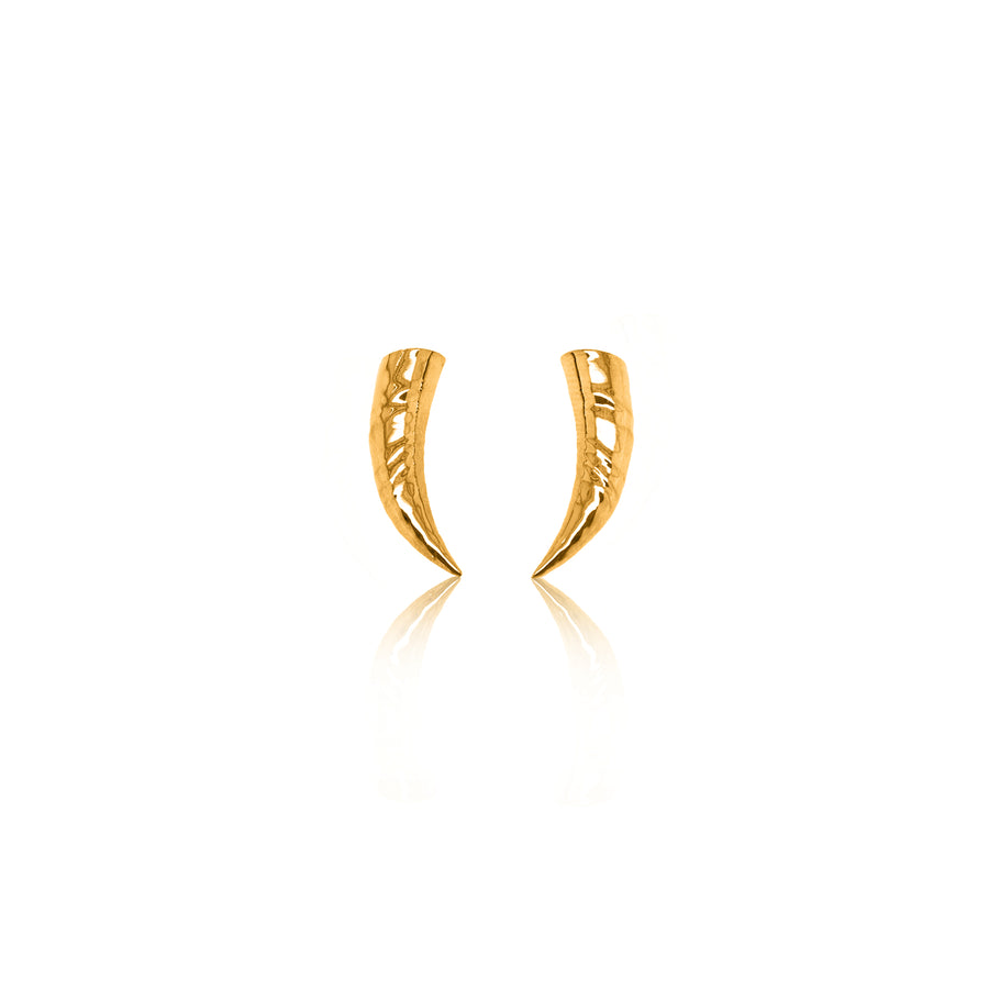24Kt Yellow Gold Rhino Horn Earrings