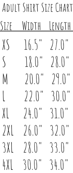 Theba Outfitters Adult Shirt Size Chart