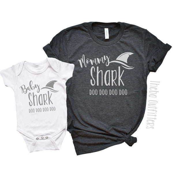 Baby Shark Mommy Shark Mommy and Me Shirt Tee Onesie Baby Theba Outfitters