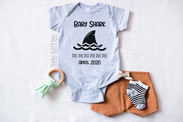 Baby Shark Pregnancy Announcement Custom Onesie bodysuit newborn infant theba outfitters