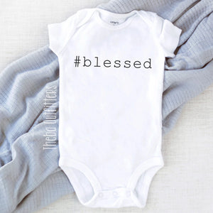 #Blessed Hashtag Blessed Thanksgiving Custom Baby Onesie Bodysuit Newborn Infant Theba Outfitters