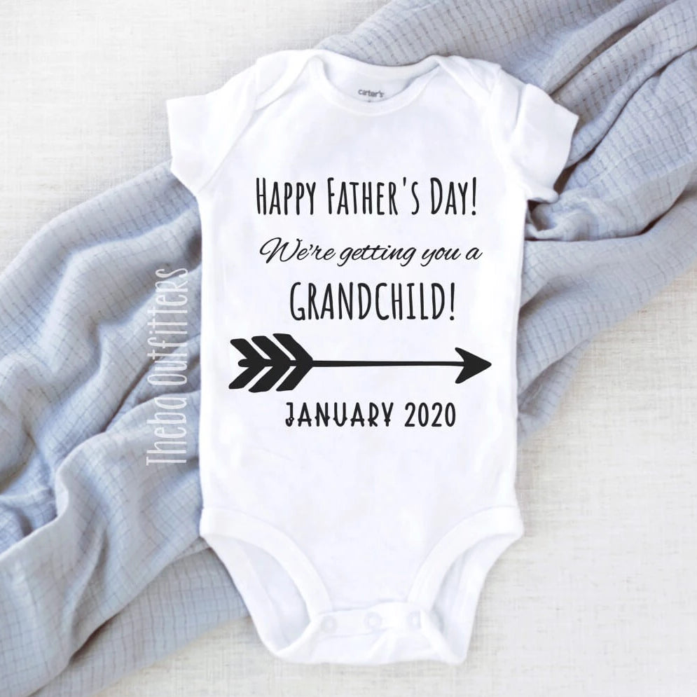 Personalised Baby Bodysuit Happy Father/'s Day Pregnancy Reveal Your Gift Is Due