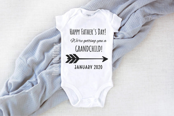 'Happy Father's Day we're getting you a Grandchild' Pregnancy Announcement Onesie Bodysuit Theba Outfitters