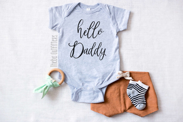 Hello Daddy Pregnancy Announcement Baby Onesie Bodysuit infant newborn Theba Outfitters