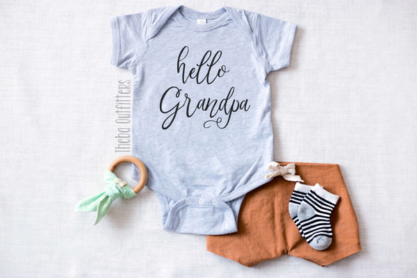 Hello Grandpa Pregnancy Announcement Baby Onesie Bodysuit infant newborn Theba Outfitters