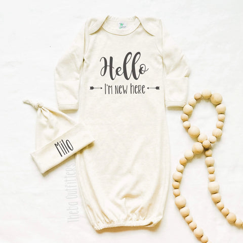 Hello I'm New Here Newborn Gown Set Knotted Hat Coming Home Outfit Infant Theba Outfitters