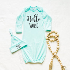 """Hello World"" Newborn Gown Set"
