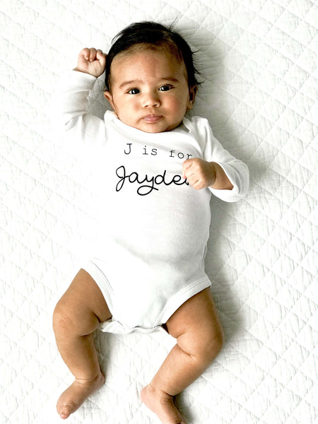N is for Name Personalized Custom Baby Name Onesie Newborn Infant Theba Outfitters