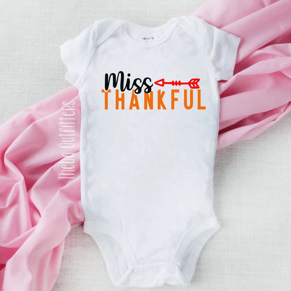 'Miss Thankful' Onesie Thanksgiving Bodysuit infant Newborn Baby Theba Outfitters