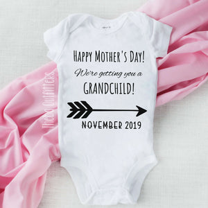 Happy First Mother's Day Personalized Pregnancy Announcement  Baby Onesie Bodysuit Infant Theba Outfitters